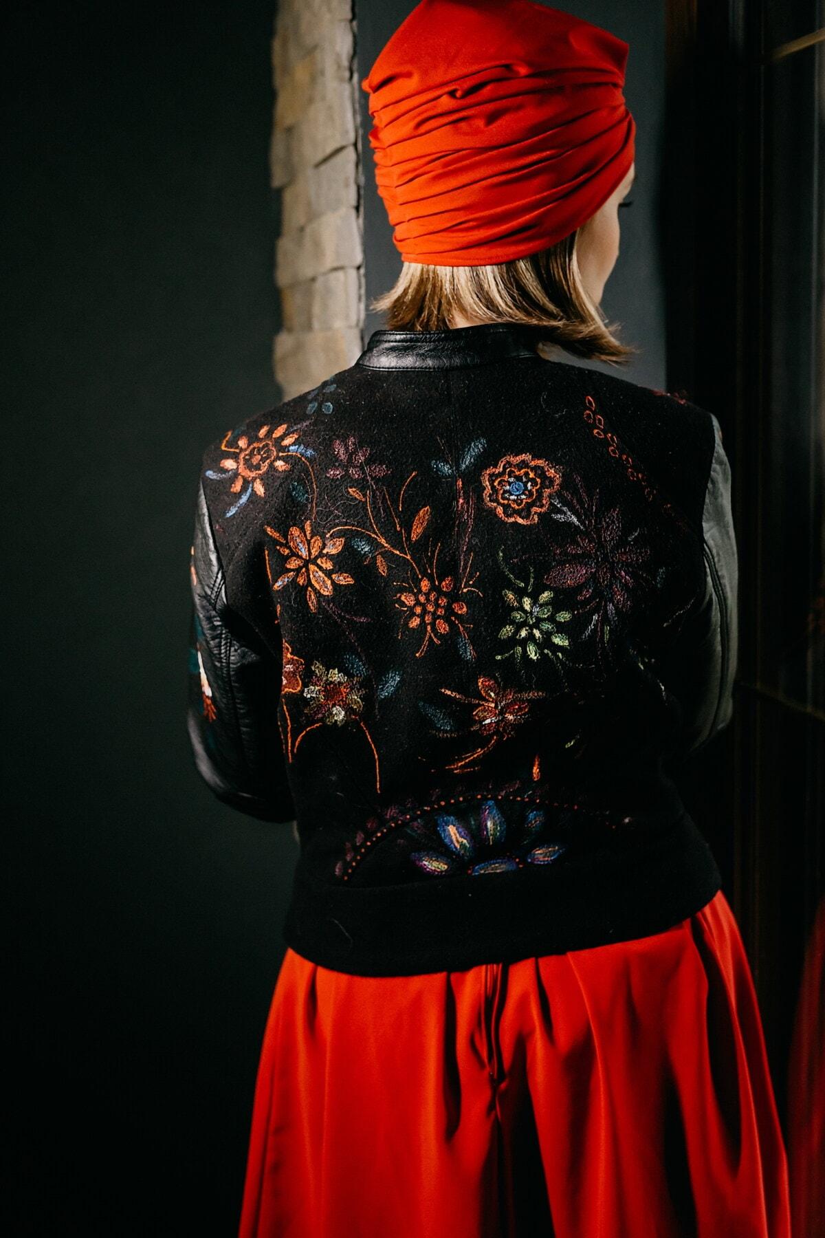 röd, halsduk, trendiga, läder, jacka, handgjorda, design, konstnärliga, vintage, flicka