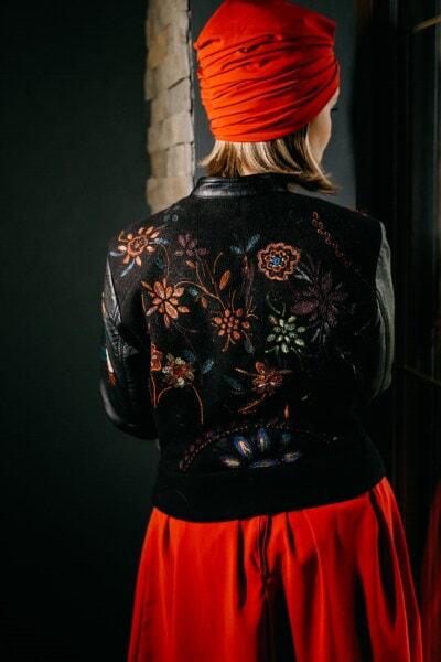 rood, sjaal, trendy, leder, jas, handgemaakte, ontwerp, artistieke, wijnoogst, meisje