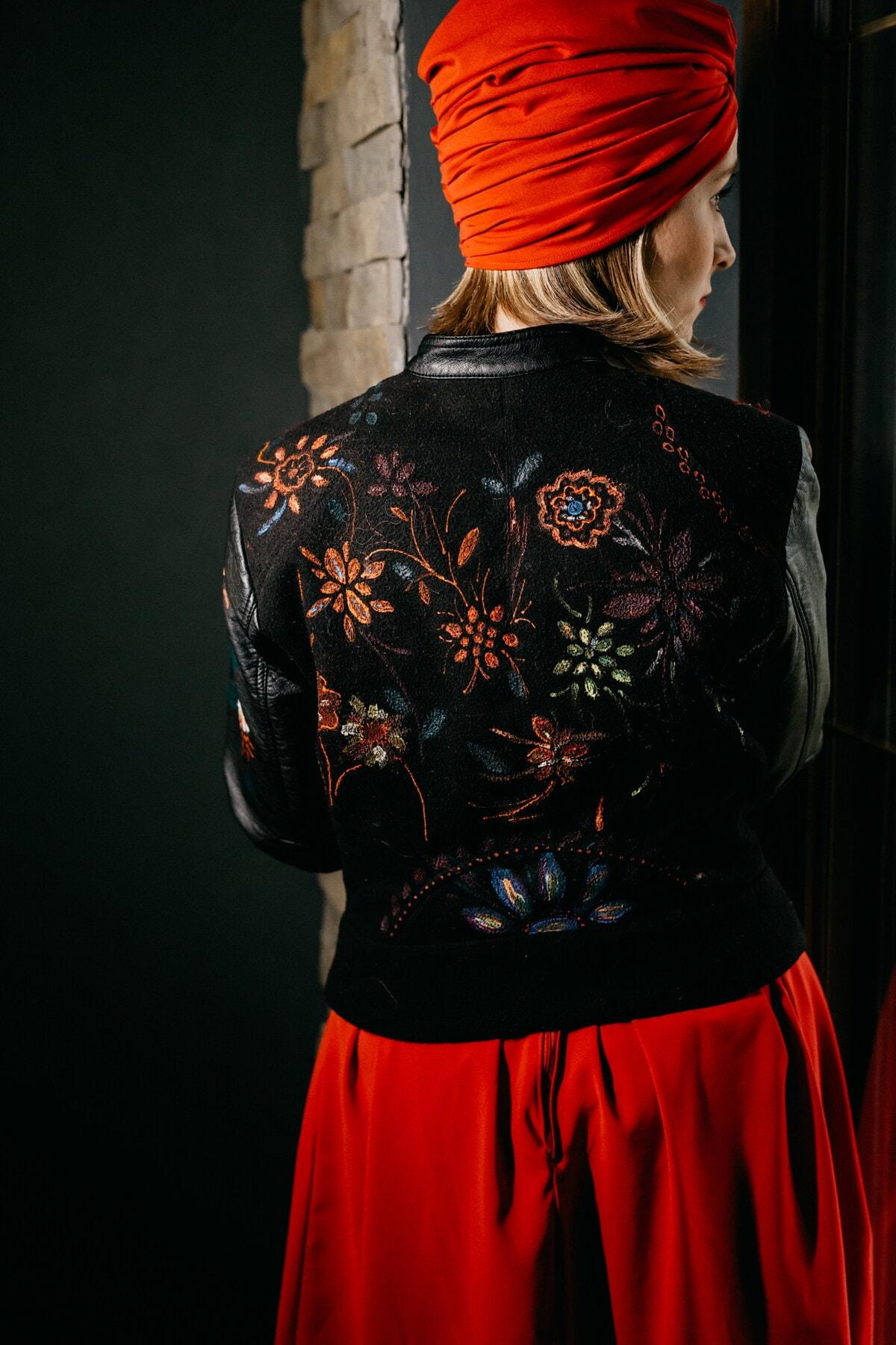 siyah, ceket, bağbozumu, deri, poz, çekicilik, moda, genç kadın, portre, kız