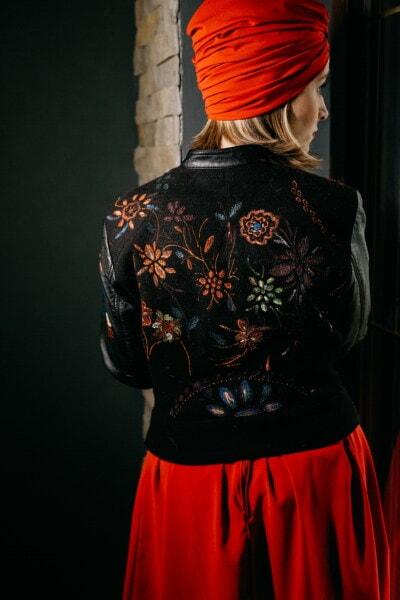 zwart, jas, wijnoogst, leder, poseren, aantrekkingskracht, mode, jonge vrouw, portret, meisje