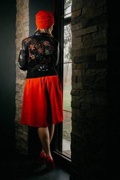 рокля, червен, шал, черно, кожа, яке, случайни, хубаво момиче, инвентар, ръчно изработени