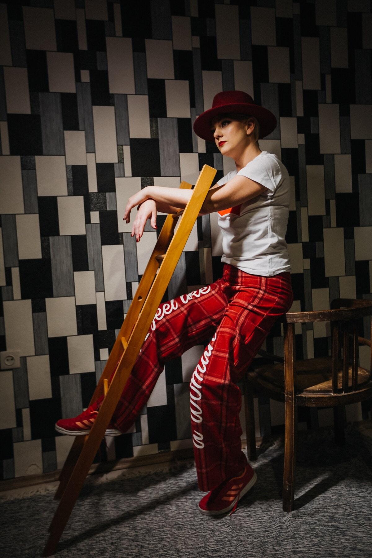 rood, hoed, fotostudio, foto-model, mode, poseren, Broek, vrije stijl, mensen, vrouw