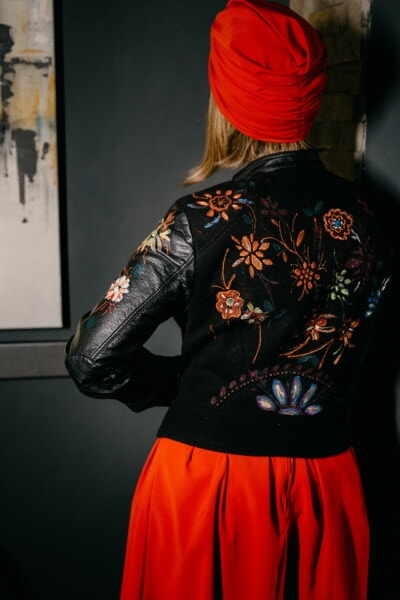 coat, black, jacket, leather, flowers, handmade, design, artistic, red, free style