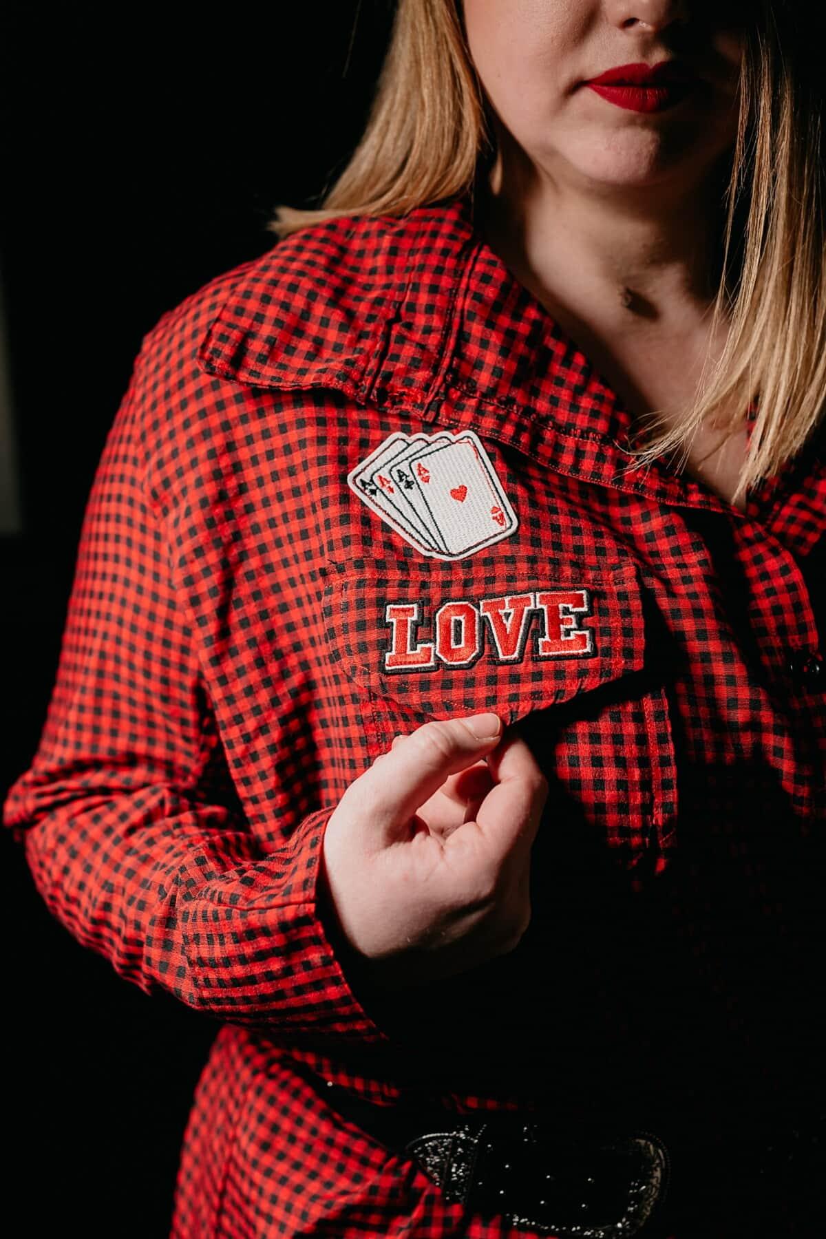 kartu, Cinta, Aces, pesan, Permainan, merah, mode, kemeja, pakaian, trendi