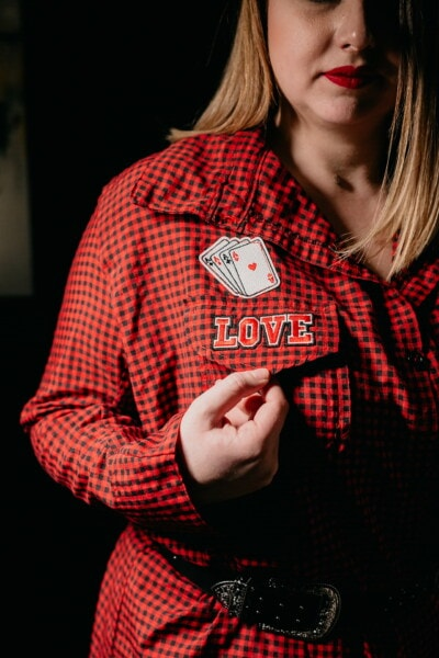 aces cards, woman, love, game, red, shirt, design, fashion, pretty, attractive