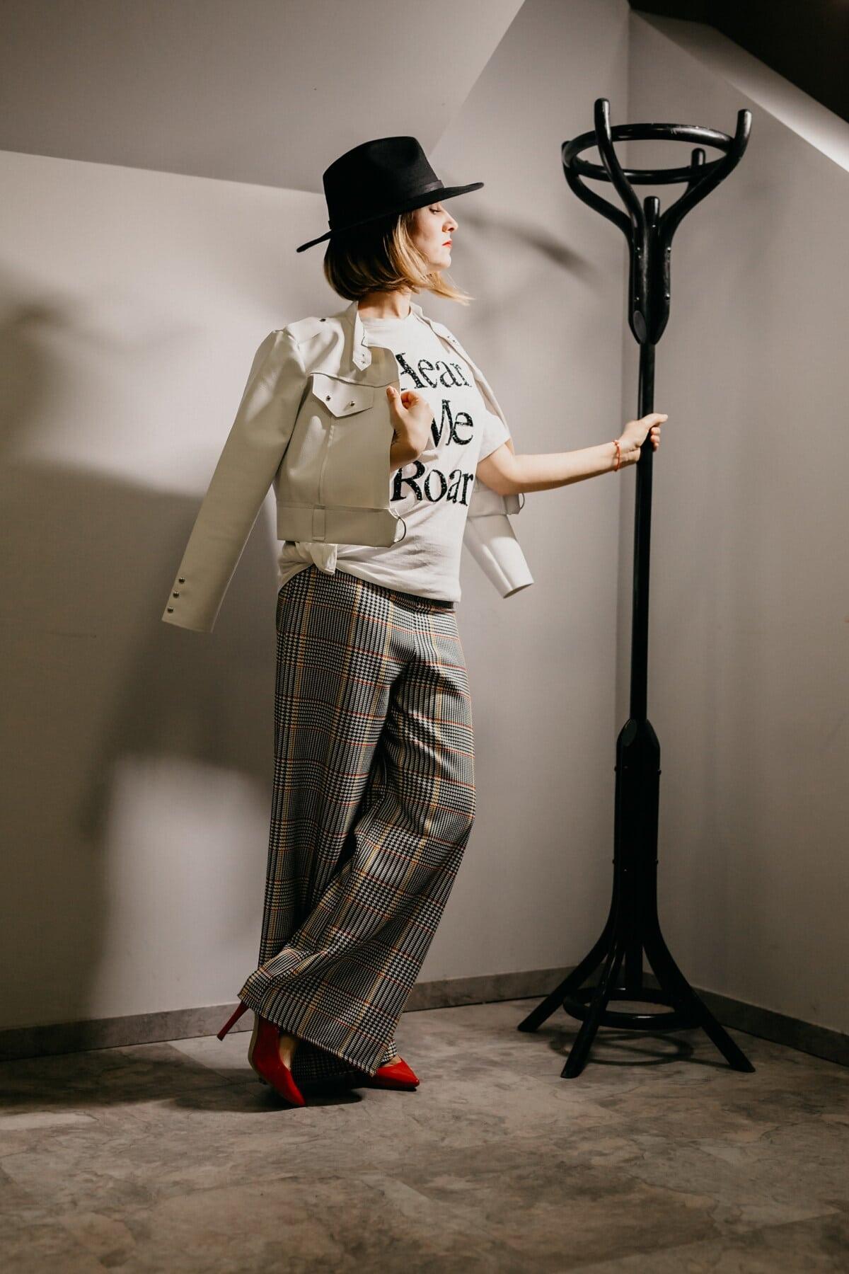 hat, black, fashion, trendy, woman, fancy, outfit, posing, standing, pants