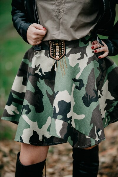 army, design, skirt, outfit, fashion, camouflage, young woman, jacket, leather, uniform