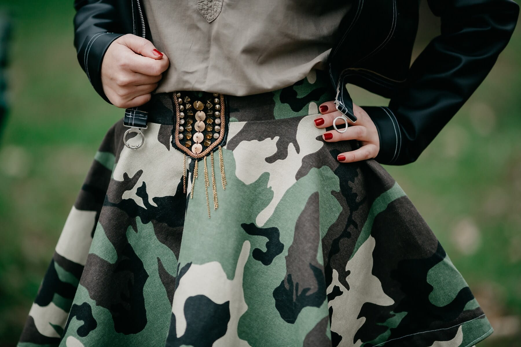 伪装, 军事, 时尚, 统一, 裙子, 女人, 设计, 夹克, 皮革, 手