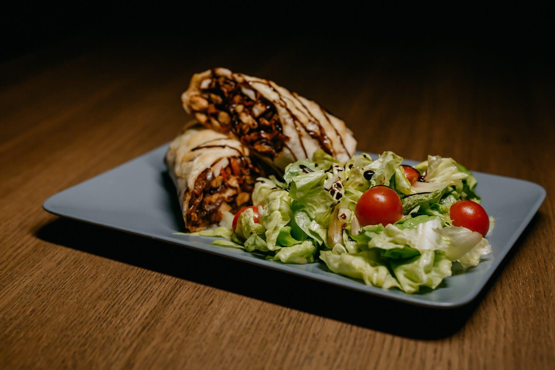 Burrito, Fast-food, Sandwich, Salat, lecker, Rindfleisch, Grill, Fleisch, Soße, Platte