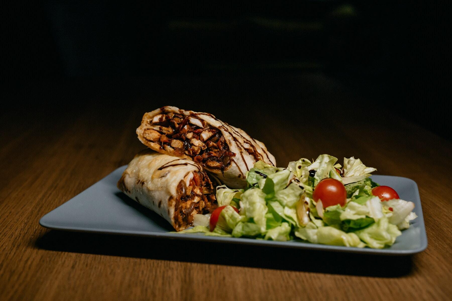 fast food, roast, burrito, lettuce, salad, food, plate, dinner, meal, lunch