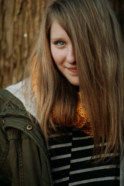 hezké děvče, nádherná, teenager, blond vlasy, oko, modrá, kůže, úsměv, obličej, portrét