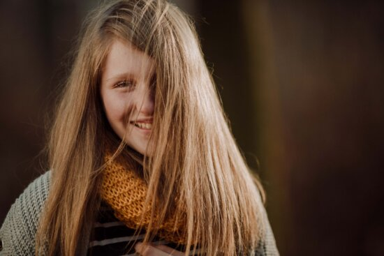 casual, trendy, teenager, scarf, sweater, outfit, beautiful, portrait, smile, hair