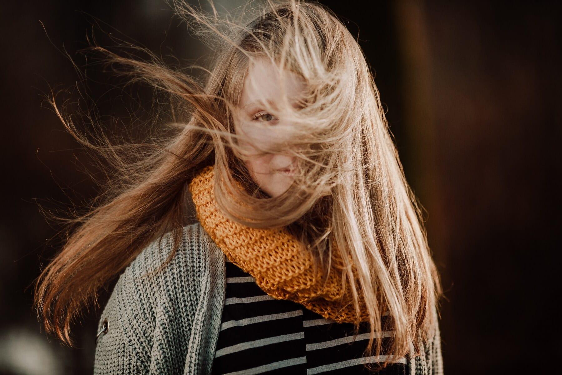 студено, тийнейджър, коса, вятър, времето, пуловер, портрет, руса коса, блондинка, шал