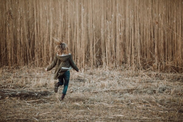 girl, running, field, light brown, autumn season, jacket, person, wood, nature, people