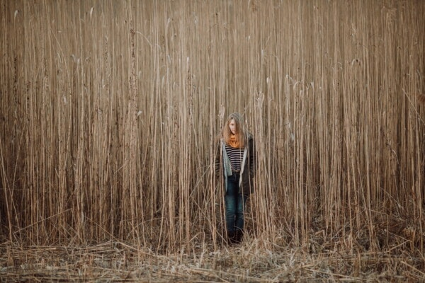 standing, young woman, blonde, agriculture, field, grass, high, rural, autumn season, wood