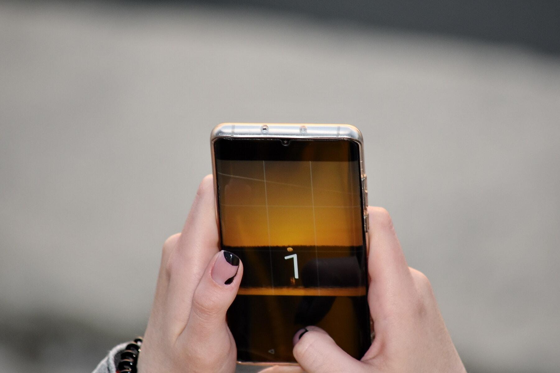 мобилен телефон, фотография, видео запис, ръце, залез, телефон, ръка, устройство, докосване, Преносим