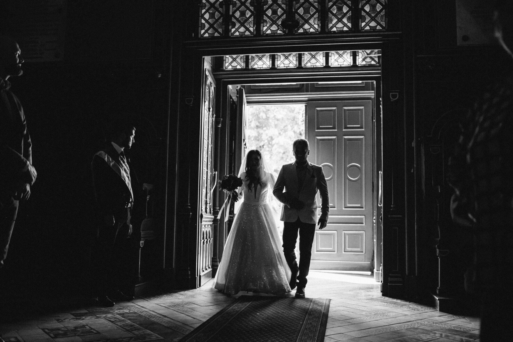father, bride, wedding, walkway, church, ceremony, people, groom, monochrome, doorway