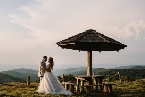 wife, husband, panorama, just married, mountain peak, hills, countryside, dress, bride, wedding