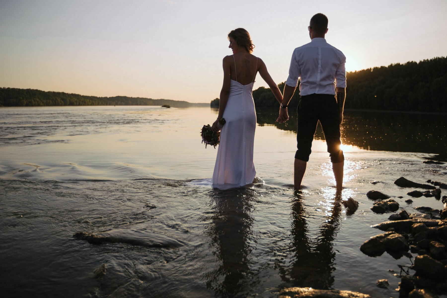 wife, holding hands, husband, young, just married, evening, sunset, panorama, riverbank, love