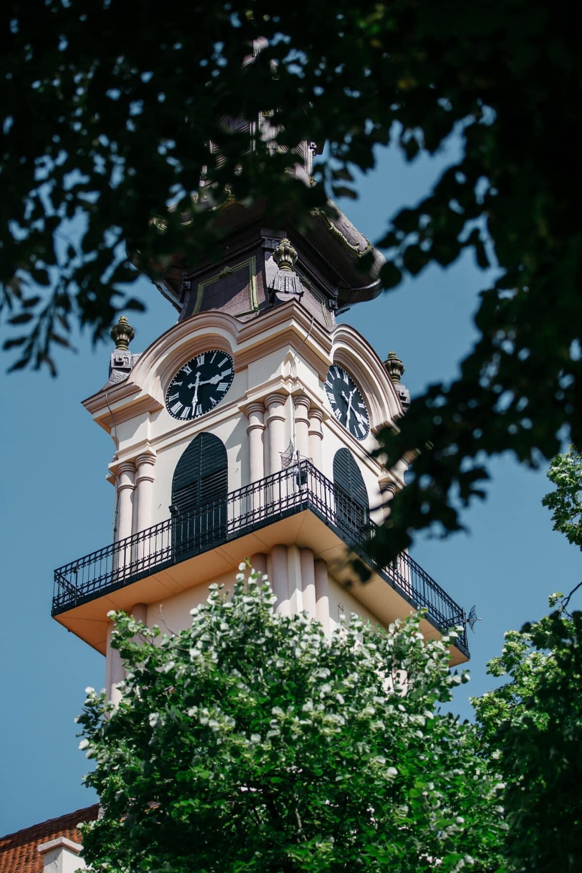crkveni toranj, pravoslavlje, terasa, analogni sat, balkon, ukras, barok, religija, arhitektura, crkva