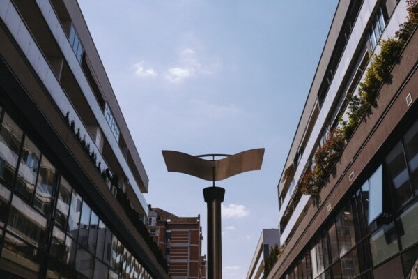 modern, lamp, street, urban, balcony, city, building, architecture, structure, construction