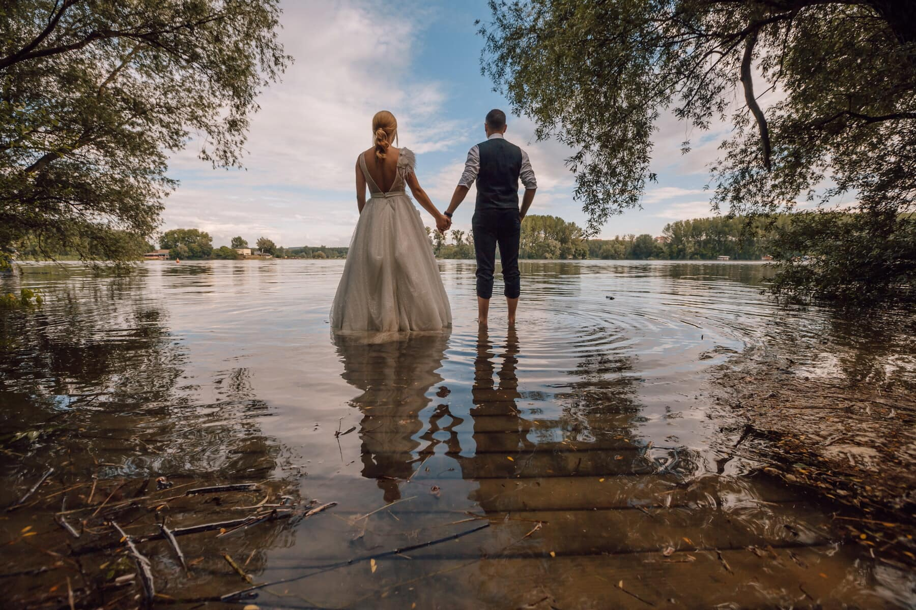 man, together, lakeside, young woman, tuxedo suit, water, barefoot, wet, dress, relaxation