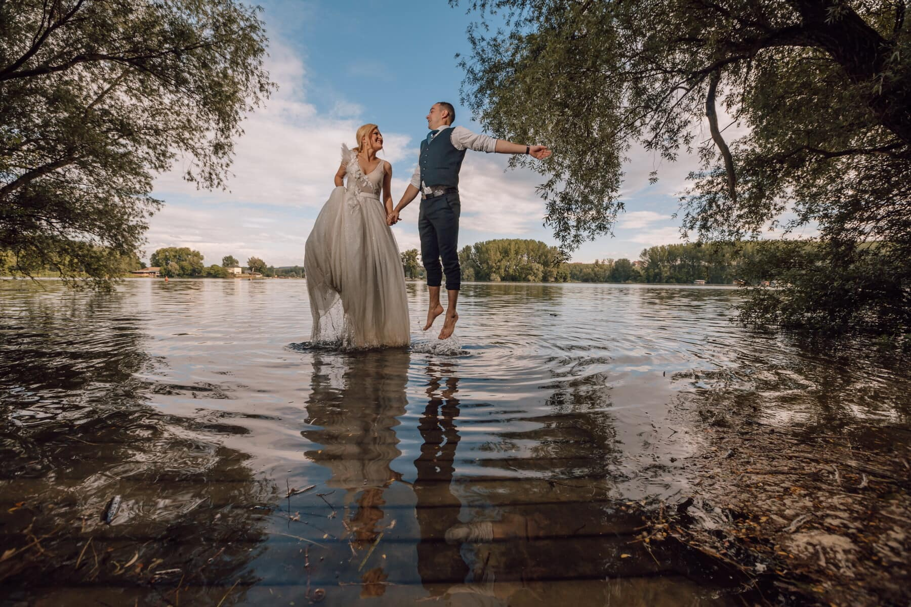 groom, jump, joy, waterdrop, bride, water, girl, wedding, lake, sunset