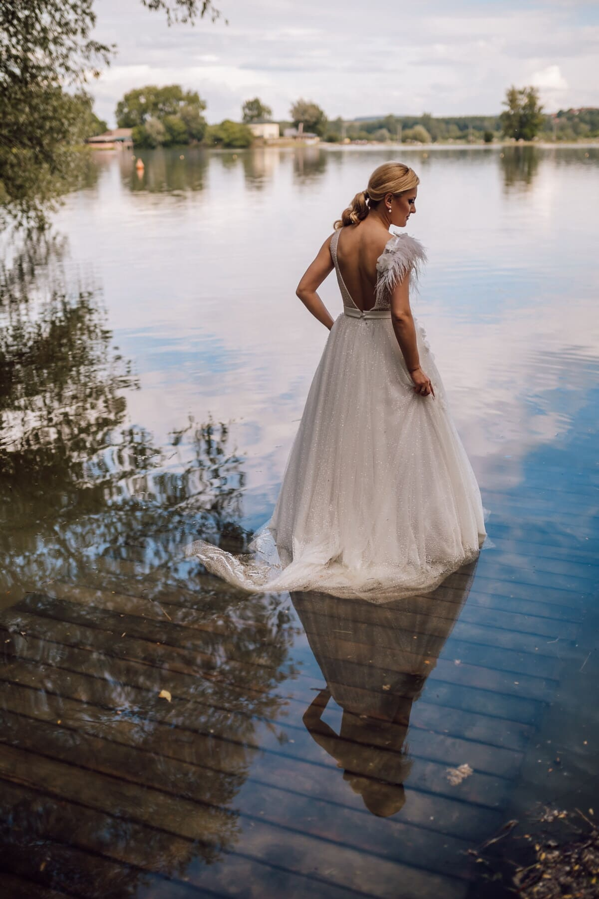 gorgeous, young woman, blonde, white, dress, lake, wedding, bride, water, outdoors