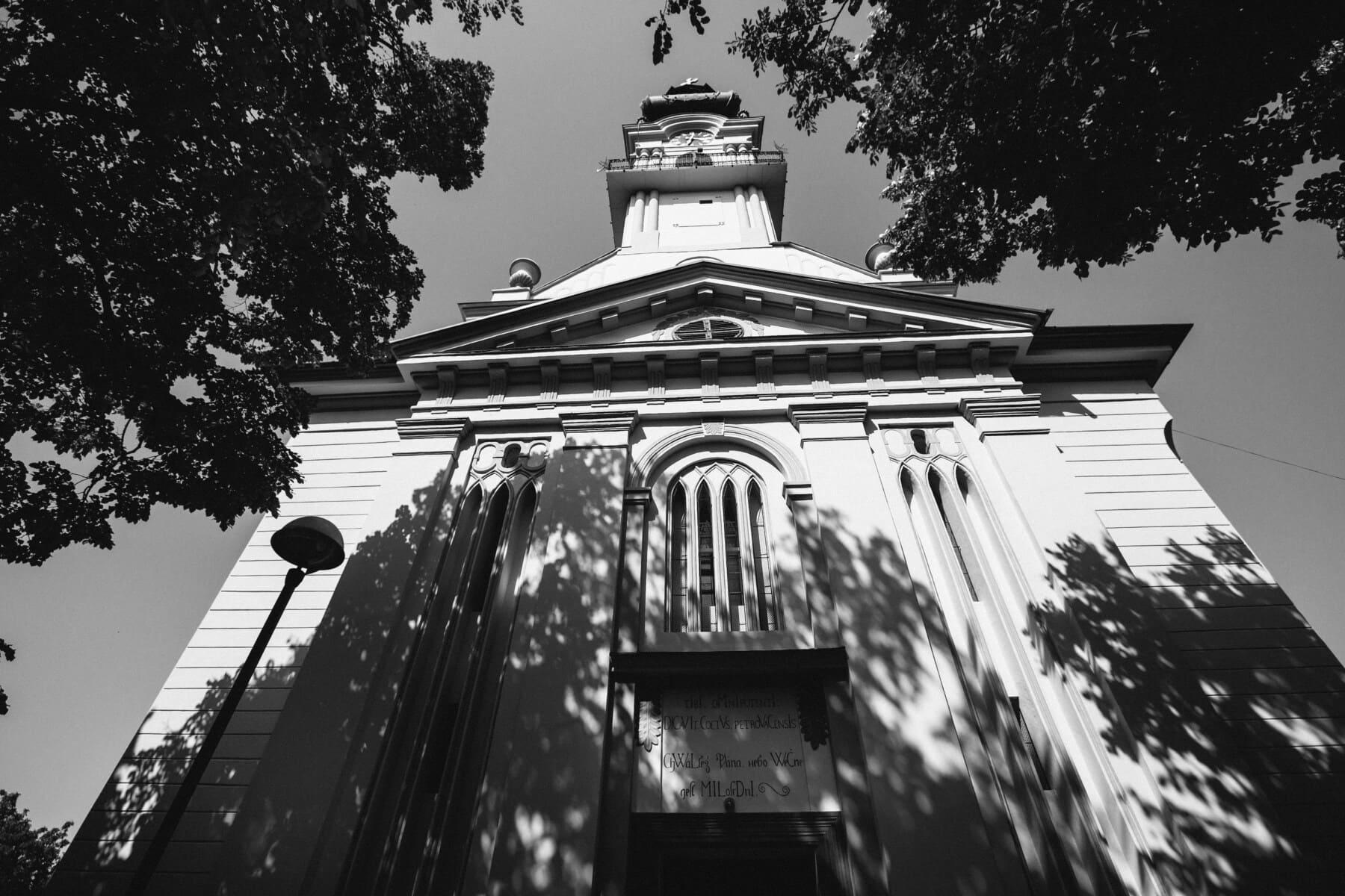 katholische, schwarz und weiß, Kirche, Gebäude, Monochrom, kathedrale, Religion, Architektur, im freien, Stadt
