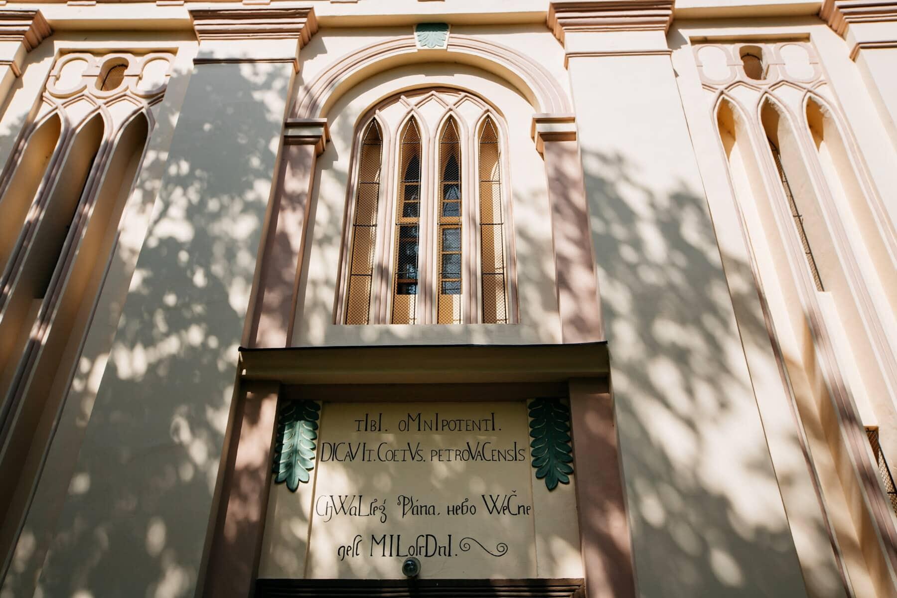 cathédrale, arches, façade, signe, mur, fenêtre, bâtiment, église, architecture, vieux