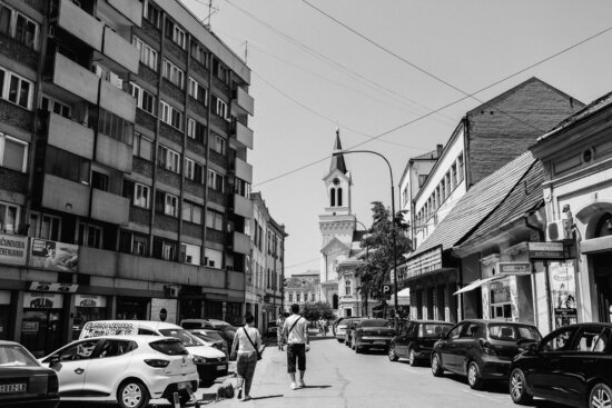 east, Europe, street, road, cars, black and white, buildings, city, architecture, conveyance