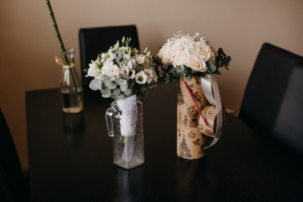 bouquet, chairs, office, table, interior decoration, vase, elegance, roses, minimalism, still life