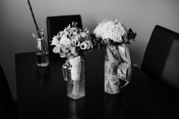 pitcher, pair, vase, bouquet, elegant, roses, office, black and white, monochrome, still life