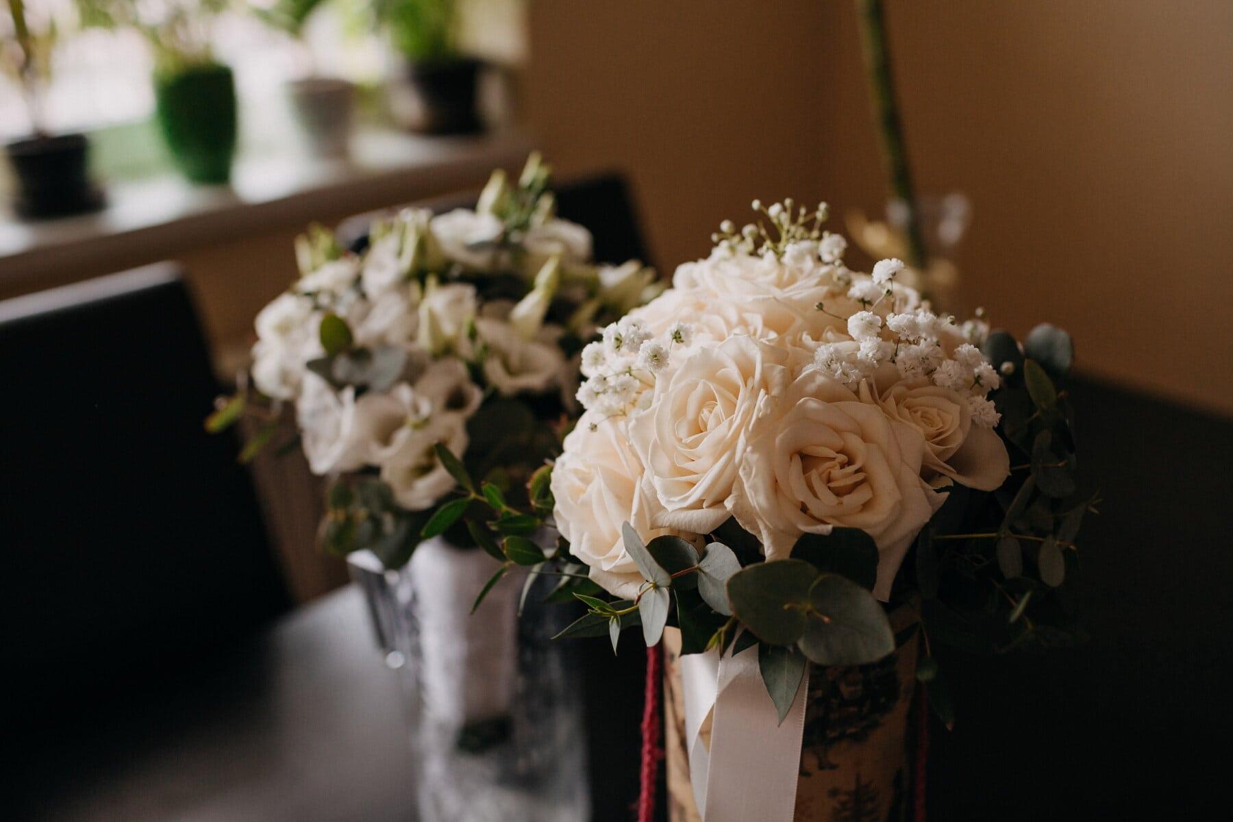 Blumenstrauß, Rosen, weiße Blume, Vase, Interieur-design, Zimmer, Schreibtisch, Blume, stieg, Anordnung
