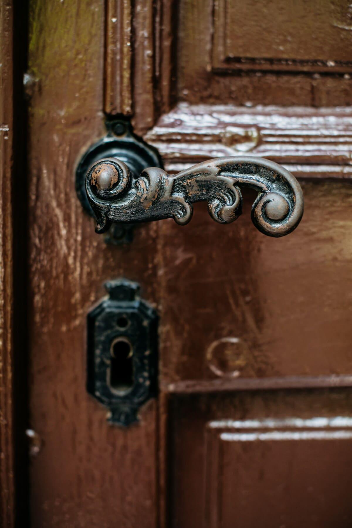 antiguo, ojo de la cerradura, hecho a mano, hierro fundido, puerta de entrada, ornamental, marrón claro, detalles, carpintería, puerta