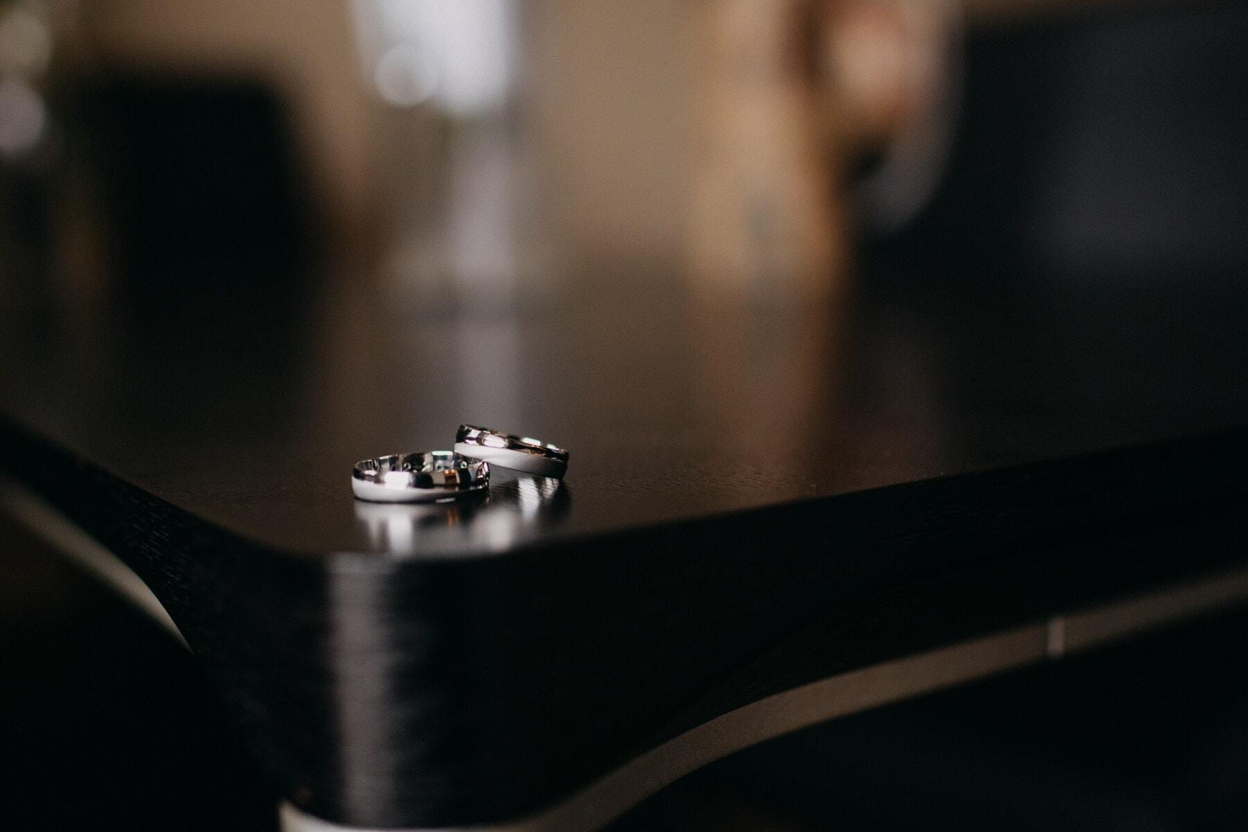 bague de mariage, paire, fermer, réflexion, ombre, brouiller, nature morte, studio, à l'intérieur, chambre