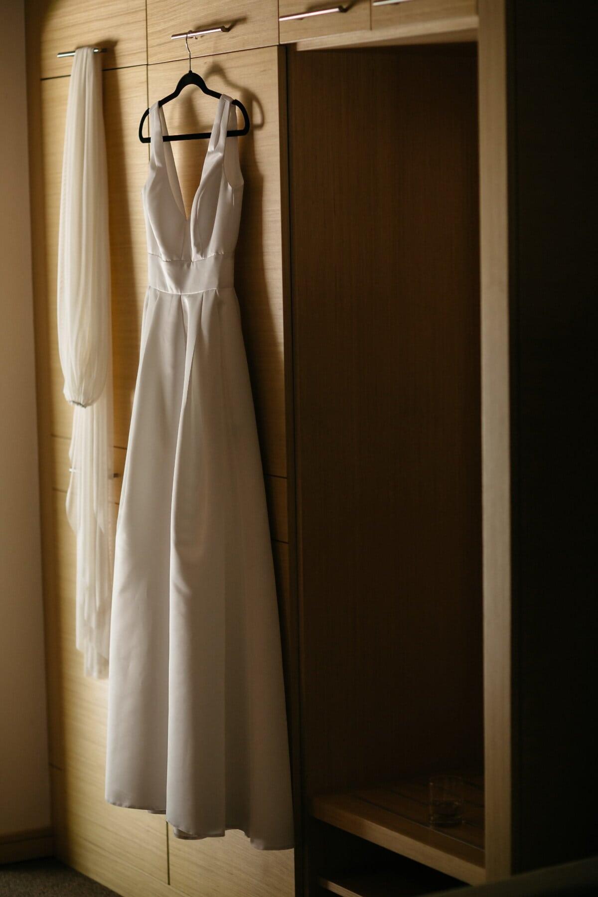 wedding dress, wardrobe, hanging, hanger, fashion, dress, indoors, wood, wedding, room
