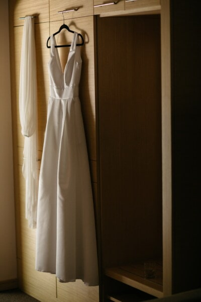 wedding dress, wardrobe, hanging, hanger, fashion, dress, indoors, wood, wedding, room