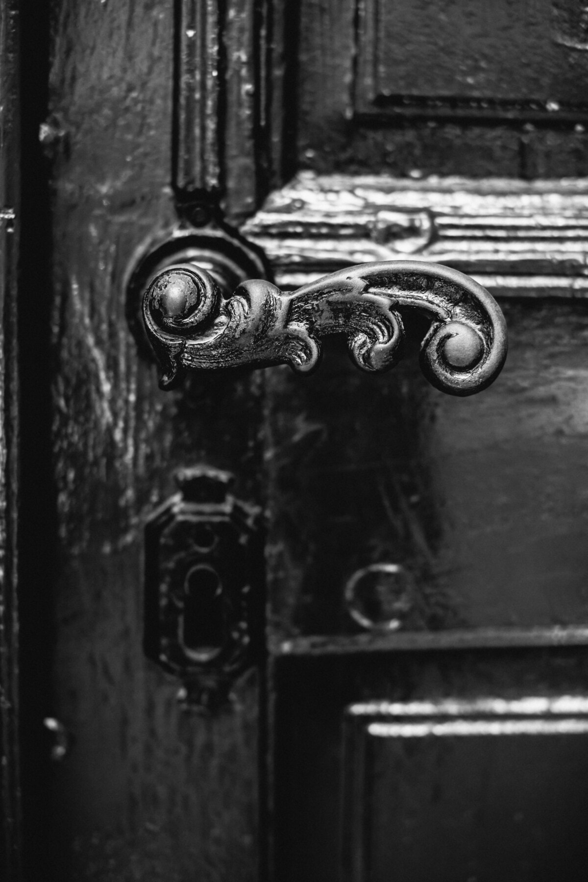 close-up, cast iron, black and white, front door, metal, lock, device, old, door, latch