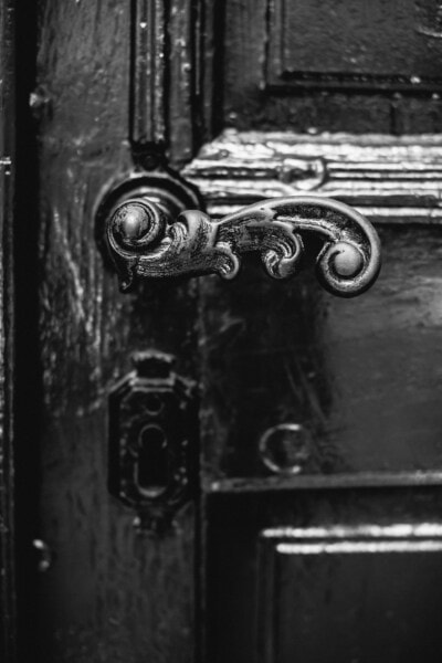 close-up, cast iron, black and white, front door, metal, lock, device, old, door, latch