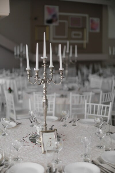candles, white, candlestick, lunchroom, hotel, dining area, glass, holder, wedding, table