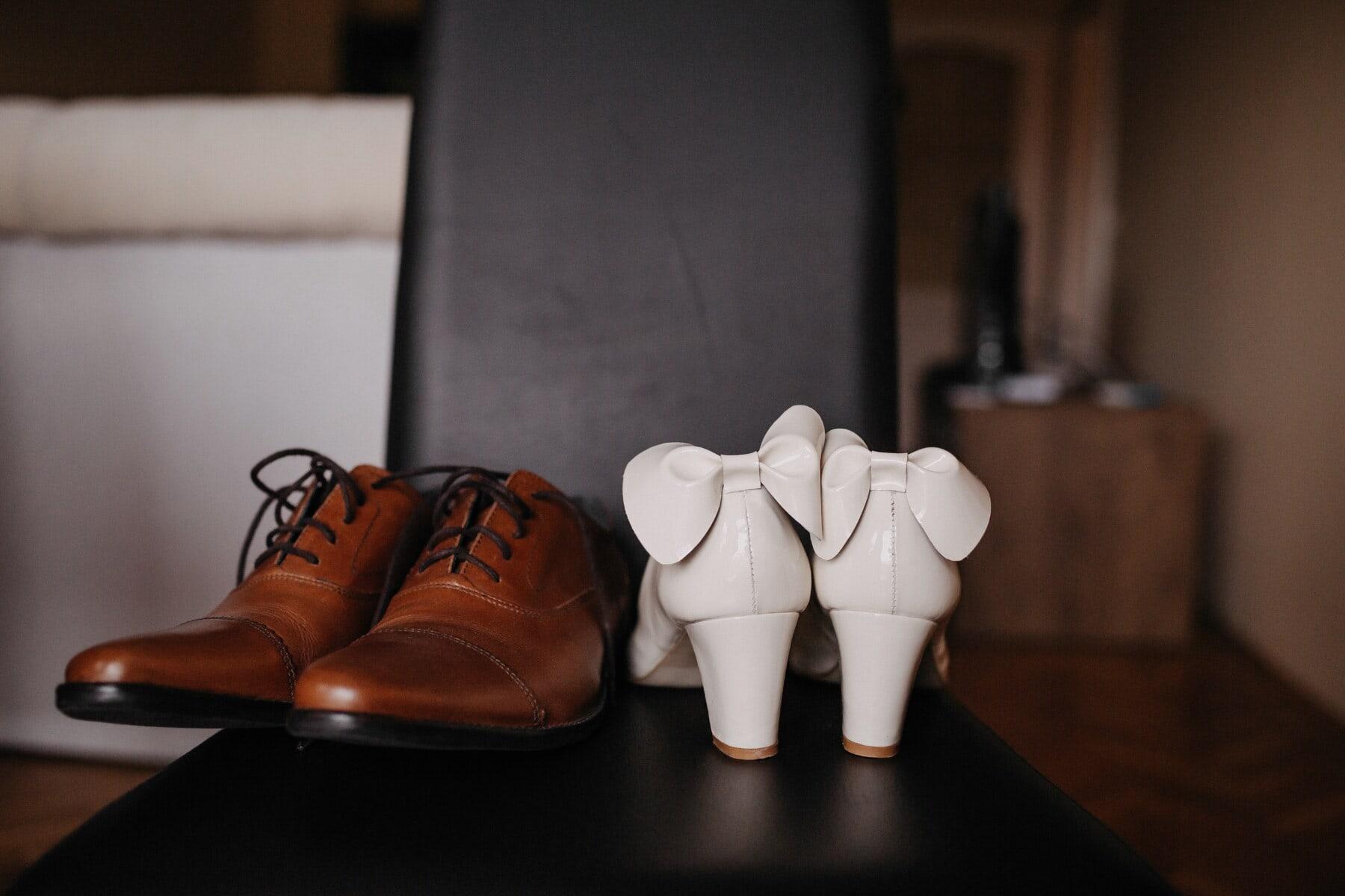 klasično, elegantan, sandale, cipele, koža, obuća, par, povremeni, cipela, mrtva priroda