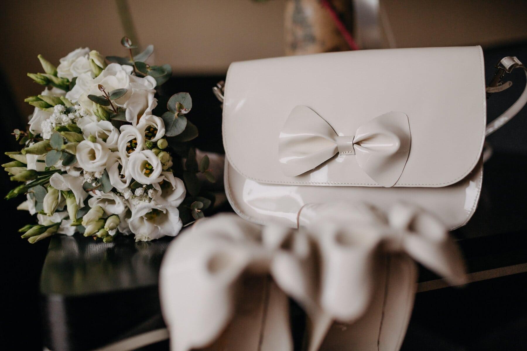blanc, en cuir, brillante, sac à main, charme, mode, fleur, arrangement, décoration, bouquet