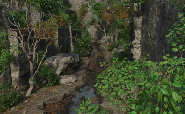 искусство, цифровой, визуальные эффекты, фотомонтаж, лес, поток, вода, лист, пейзаж, дерево