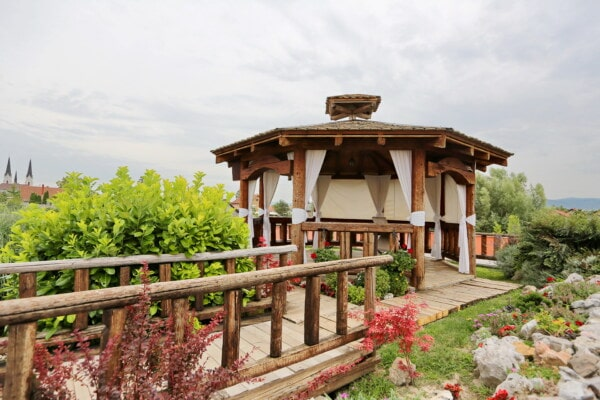 terrace, backyard, cottage, bridge, flower garden, architecture, building, house, garden, wood