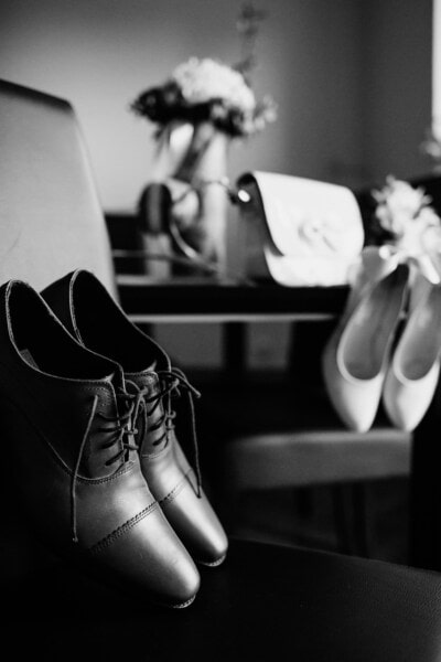 chaussures, pied, mariage, monochrome, chaussure, mode, rue, en cuir, couple, studio