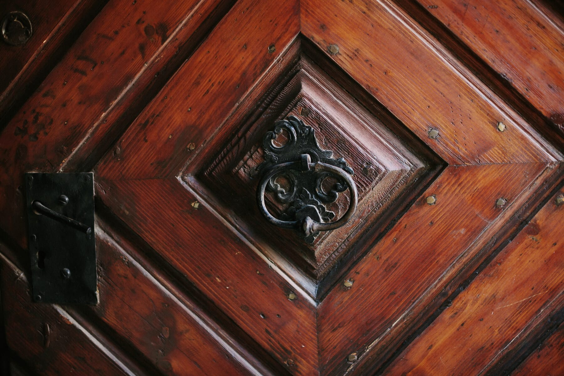 Antik, Tischlerei, Details, vor der Tür, Hartholz, aus Gusseisen, Eiche, Platz, aus Holz, alt