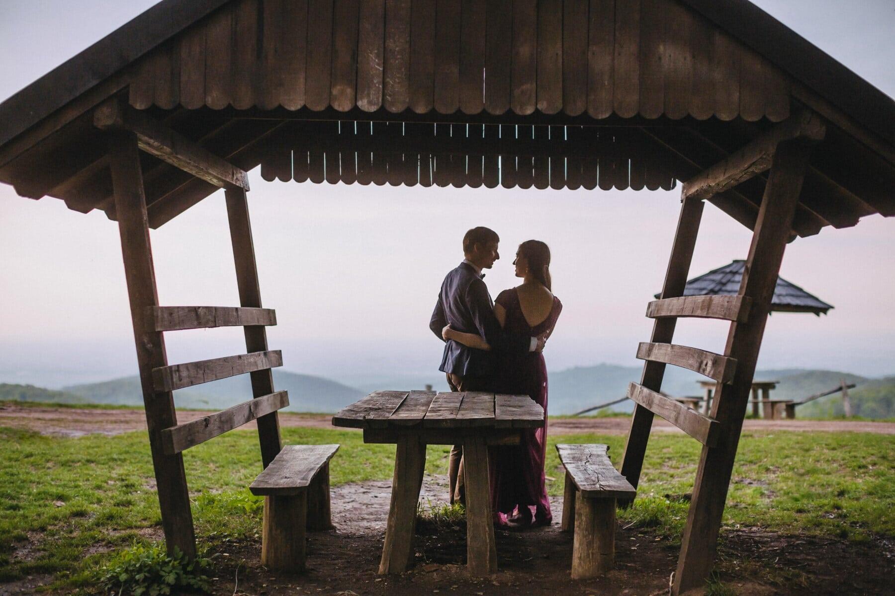 amant, romantique, amour, date d'amour, randonnée, campagne, village, zone de villégiature, gens, jeune fille