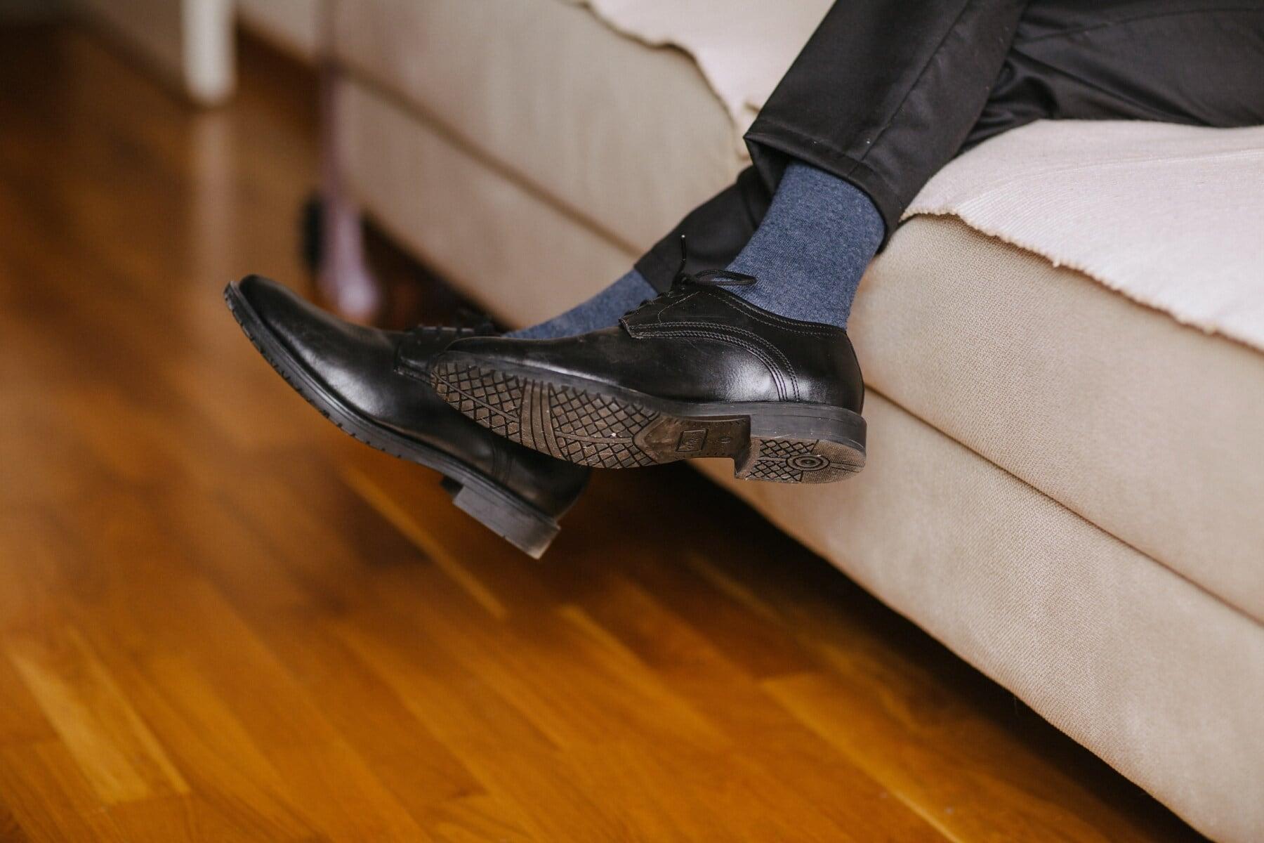 black, shoes, leather, pants, classic, comfortable, man, socks, legs, room