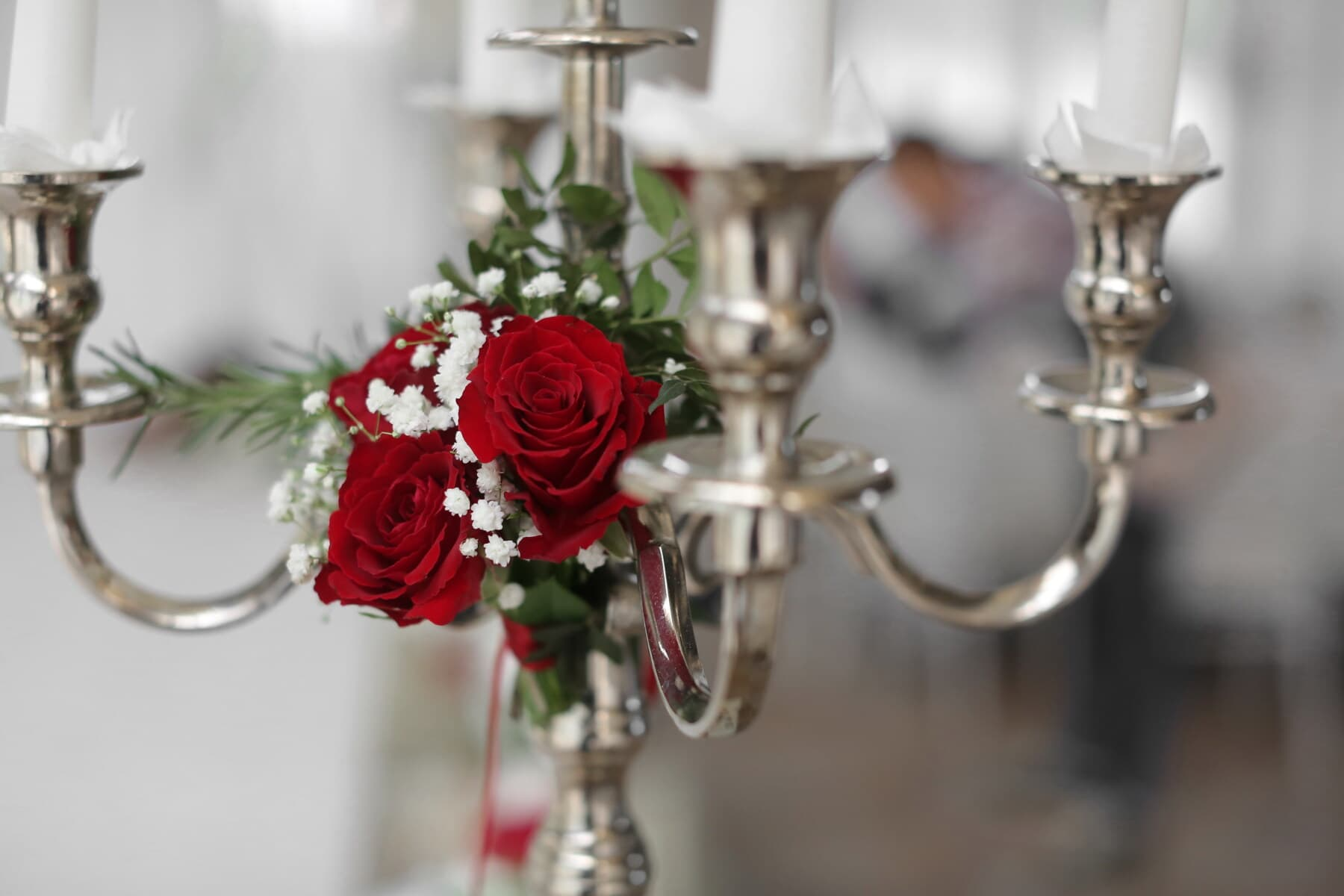 candlestick, silver, decorative, red, elegant, white, candles, bouquet, decoration, candle